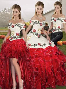 Admirable White And Red Sleeveless Embroidery and Ruffles Floor Length Sweet 16 Dresses