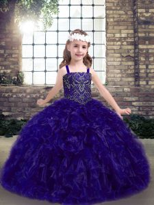 Custom Design Beading and Ruffles Little Girl Pageant Gowns Purple Lace Up Sleeveless Floor Length