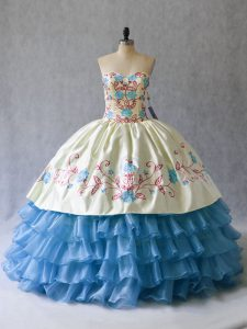 New Style Embroidery and Ruffled Layers Custom Made Blue And White Lace Up Sleeveless Floor Length