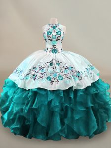 Teal Ball Gowns Organza Halter Top Sleeveless Embroidery and Ruffles Floor Length Lace Up Quinceanera Dresses