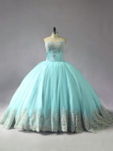 Free and Easy Blue Tulle Lace Up Sweetheart Sleeveless Quinceanera Dresses Court Train Appliques