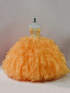 Customized Ball Gowns Ball Gown Prom Dress Orange Sweetheart Organza Sleeveless Floor Length Lace Up