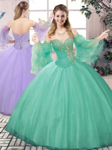 Extravagant Apple Green Sleeveless Tulle Lace Up 15th Birthday Dress for Sweet 16 and Quinceanera