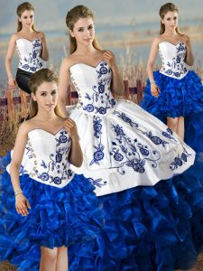 Noble Blue And White Sleeveless Satin and Organza Lace Up 15th Birthday Dress for Sweet 16 and Quinceanera