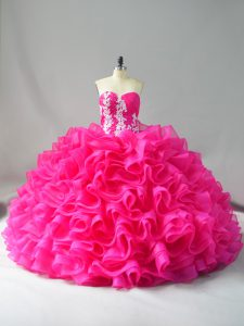 Organza Sweetheart Sleeveless Lace Up Appliques and Ruffles 15th Birthday Dress in Hot Pink