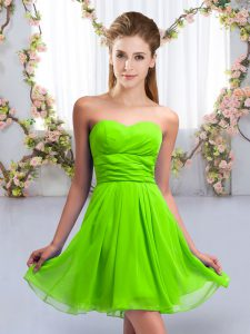 Sleeveless Chiffon Mini Length Lace Up Court Dresses for Sweet 16 in with Ruching