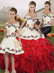 Glittering Three Pieces Quinceanera Gown White And Red Off The Shoulder Organza Sleeveless Floor Length Lace Up