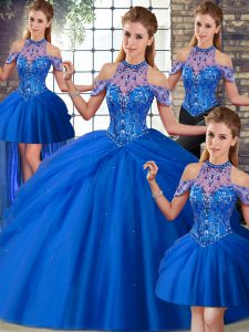 Best Selling Blue 15 Quinceanera Dress Tulle Brush Train Sleeveless Beading and Pick Ups