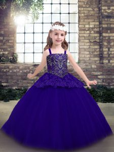 Most Popular Purple Ball Gowns Tulle Straps Sleeveless Beading Floor Length Lace Up Little Girls Pageant Gowns