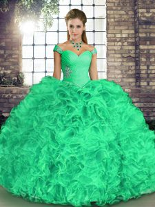 Custom Made Organza Off The Shoulder Sleeveless Lace Up Beading and Ruffles Quinceanera Dresses in Turquoise