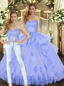 Graceful Sweetheart Sleeveless Ball Gown Prom Dress Floor Length Appliques and Ruffles Lavender Tulle