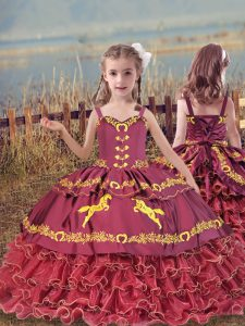 Fantastic Wine Red Organza Lace Up Pageant Gowns For Girls Sleeveless Floor Length Beading and Embroidery and Ruffled Layers
