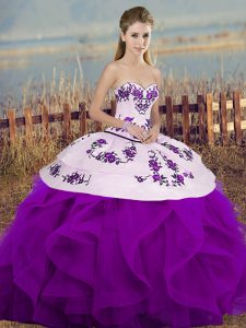 Flare White And Purple Lace Up Quinceanera Gown Embroidery and Ruffles and Bowknot Sleeveless Floor Length