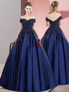Customized Navy Blue Quinceanera Dresses Sweet 16 and Quinceanera with Lace Off The Shoulder Sleeveless Zipper