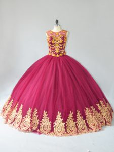 Custom Designed Burgundy Sleeveless Appliques Floor Length Sweet 16 Dresses