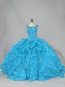 Suitable Aqua Blue Lace Up Scoop Beading and Ruffles Ball Gown Prom Dress Organza Sleeveless Brush Train