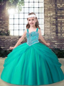 Popular Aqua Blue Lace Up Kids Formal Wear Beading Sleeveless Floor Length