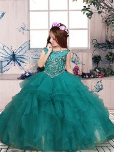 Turquoise Kids Formal Wear Party and Sweet 16 and Wedding Party with Beading and Ruffles Scoop Sleeveless Zipper