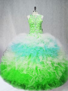 Glamorous Floor Length Ball Gowns Sleeveless Multi-color 15th Birthday Dress Zipper