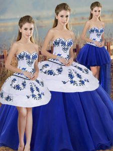On Sale Royal Blue Sweetheart Lace Up Embroidery and Bowknot Quince Ball Gowns Sleeveless