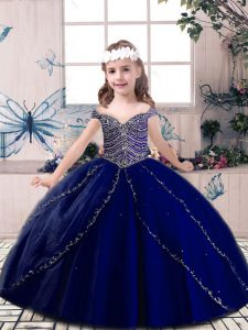 Unique Sleeveless Floor Length Beading Lace Up Pageant Gowns For Girls with Blue