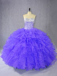 Purple Organza Lace Up Sweetheart Sleeveless Floor Length Sweet 16 Quinceanera Dress Ruffles
