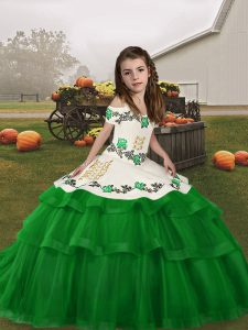 Green Lace Up Straps Embroidery and Ruffled Layers Child Pageant Dress Tulle Sleeveless