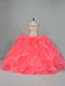 Watermelon Red Ball Gowns Organza Off The Shoulder Sleeveless Beading and Ruffles Lace Up Vestidos de Quinceanera