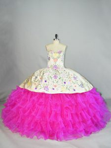 Artistic Fuchsia Quinceanera Dresses Sweet 16 and Quinceanera with Embroidery and Ruffled Layers Sweetheart Sleeveless Lace Up
