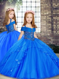Great Straps Sleeveless Little Girl Pageant Dress Floor Length Beading Blue Tulle