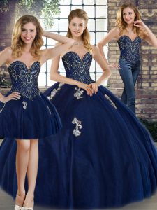 Sleeveless Floor Length Beading and Appliques Lace Up Sweet 16 Dress with Navy Blue