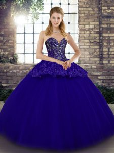 Sleeveless Lace Up Floor Length Beading and Appliques Quince Ball Gowns