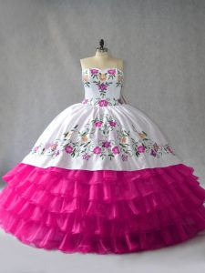 Ball Gowns Quince Ball Gowns Fuchsia Sweetheart Satin and Organza Sleeveless Floor Length Lace Up
