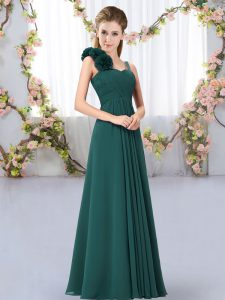 Exceptional Sleeveless Chiffon Floor Length Lace Up Dama Dress for Quinceanera in Peacock Green with Hand Made Flower