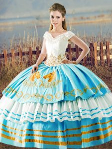 Sleeveless Organza Floor Length Lace Up Quinceanera Dresses in Blue And White with Embroidery and Ruffled Layers