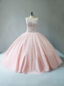 Lovely Sleeveless Floor Length Beading Lace Up Quince Ball Gowns with Peach