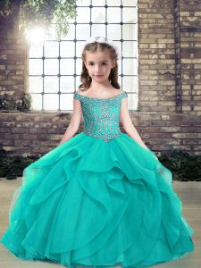 Customized Off The Shoulder Sleeveless Tulle Pageant Gowns Beading Lace Up