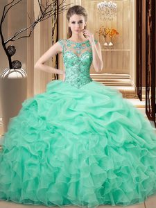 Spectacular Sleeveless Organza Floor Length Lace Up Quince Ball Gowns in Apple Green with Beading and Ruffles