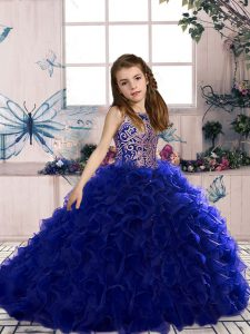 Royal Blue Lace Up Scoop Beading and Ruffles Little Girl Pageant Dress Organza Sleeveless