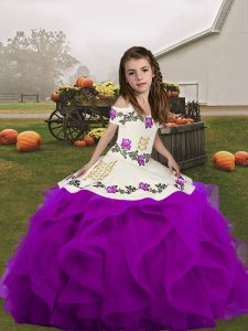 Embroidery and Ruffles Little Girl Pageant Gowns Purple Lace Up Sleeveless Floor Length