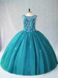 Romantic Teal Tulle Lace Up Sweet 16 Quinceanera Dress Sleeveless Floor Length Beading