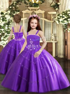 Pretty Purple Ball Gowns Straps Sleeveless Tulle Floor Length Lace Up Beading and Ruffled Layers Winning Pageant Gowns