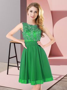 New Style Scoop Sleeveless Chiffon Quinceanera Court Dresses Beading and Appliques Backless