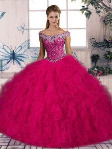 Tulle Off The Shoulder Sleeveless Brush Train Lace Up Beading and Ruffles 15th Birthday Dress in Hot Pink