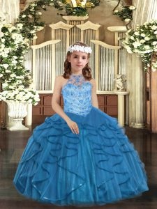 Sleeveless Lace Up Floor Length Beading and Ruffles Child Pageant Dress