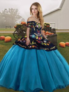 Trendy Floor Length Blue And Black Quinceanera Gowns Off The Shoulder Sleeveless Lace Up