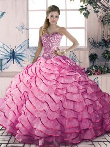 Wonderful Sweetheart Sleeveless Organza and Tulle Sweet 16 Quinceanera Dress Beading and Ruffles Lace Up
