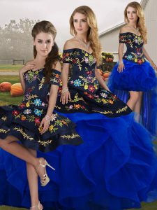 Lovely Blue And Black Off The Shoulder Lace Up Embroidery and Ruffles Quinceanera Gowns Sleeveless