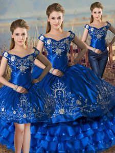 Designer Royal Blue Sleeveless Satin and Organza Lace Up Vestidos de Quinceanera for Sweet 16 and Quinceanera