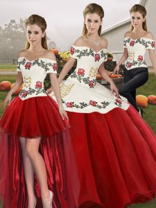 Flare Floor Length Three Pieces Sleeveless White And Red Quinceanera Dresses Lace Up